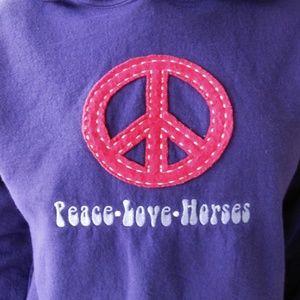 PEACE LOVE HORSES Hooded Sweatshirt